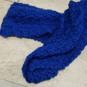 Royal blue hand knitted scarf